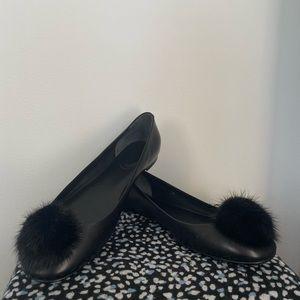 Gucci Black Leather Pom-Pom Ballet Flats